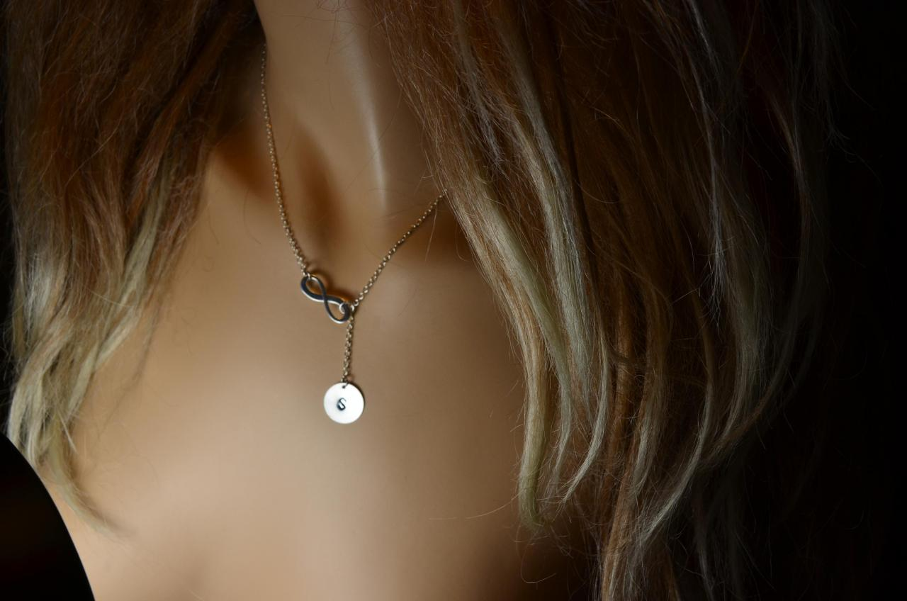 Personalized Sterling Silver Infinity and Initial Silver Disc Necklace Lariat on Sterling Silver Chain.