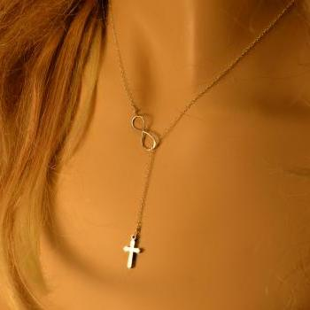 Tiny Sterling Silver Cross Necklace. Sterling Silver Infinity Necklace-Lariat.